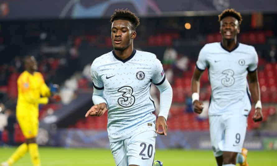 Callum Hudson-Odoi celebrates after scoring at Rennes in November. He was not on the bench for Chelsea's next game.