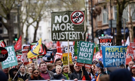 An anti-austerity protest in central London last year.