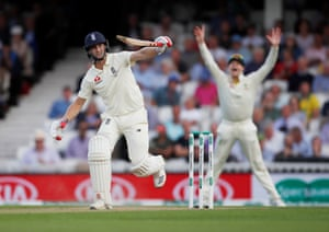 Chris Woakes is trapped lbw off the bowling of Mitchell Marsh.