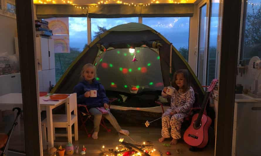 Elsa and Sarah Cuff in their indoor campsite in West Malling, Kent