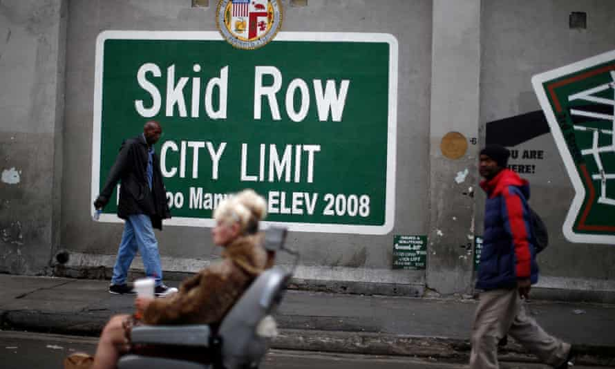 Skid row in Los Angeles, California. Around 30,000 homeless people are living in Los Angeles, according to a recent count.
