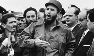 Fidel Castro outside the UN in September 1960. The US had admitted to making eight assissination attempts on Castro – though the real figure is probably much higher.