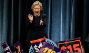 US Democratic presidential candidate Hillary Clinton had cheered plans for an increase in the minimum wage