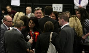 Ed Balls speaks to other delegates during the recount in Morley and Outwood.