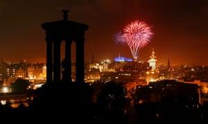 The Edinburgh International Festival Fireworks viewed from Calton Hill, Edinburgh