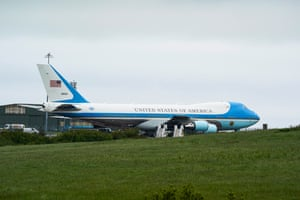 Air Force One, the airplane used by the US President Joe Biden, parked at RAF St Mawgan air base in Newquay, today.