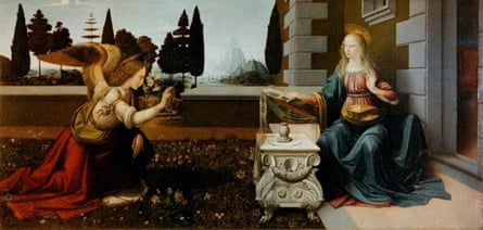 Annunciation, c. 1472 by Leonardo da Vinci.