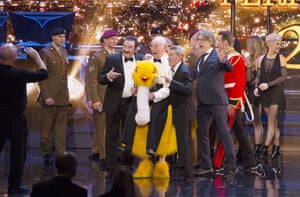 Paul Chuckle, Bernie Clifton, Barry Chuckle and Alan Davies at the Royal Variety Performance, Hammersmith Apollo, London, 2016