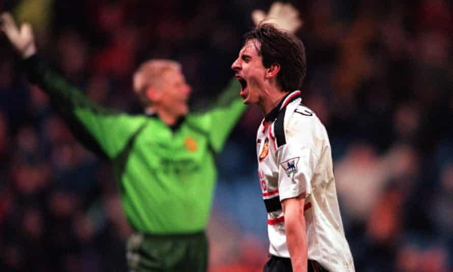 Gary Neville celebrates Manchester United's victory over Arsenal in the 1999 FA Cup semi-final replay at Villa Park.