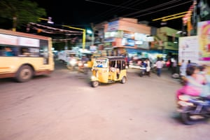 Auto-rickshaw in Mahabs. Mahabs lies halfway between the international hub of Chennai and the more sedate former French colonial town of Pondicherry. This makes for an interesting mix of people in town: IT workers down from Chennai at the weekends as well as backpacking foreigners.