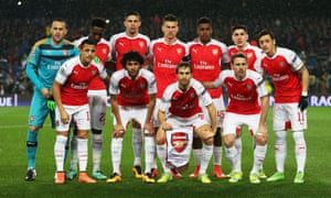 The Arsenal team group before the UEFA Champions League Round of 16 match between FC Barcelona and Arsenal