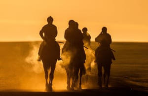 County Kildare, Ireland An early morning training session for race horses on The Curragh in Newbridge