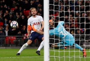 An offside Harry Kane curls the ball in.