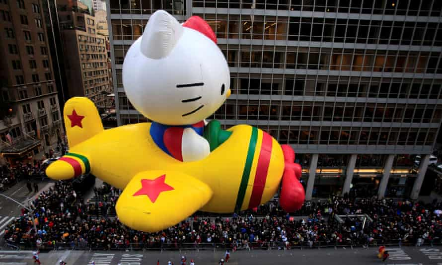 A Hello Kitty float on 6th Avenue in Manhattan, New York, during the Macy's Thanksgiving Day Parade.