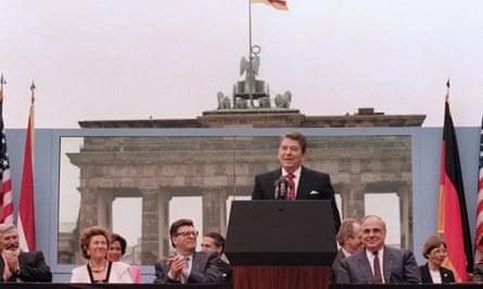 'Tear down this wall' … President Reagan speaks in Berlin, 1987.