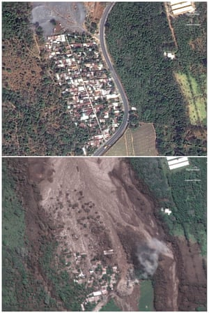 Two satellite images show San Miguel Los Lotes, pictured on 5 February (top) and the same area on 6 June after the eruption.