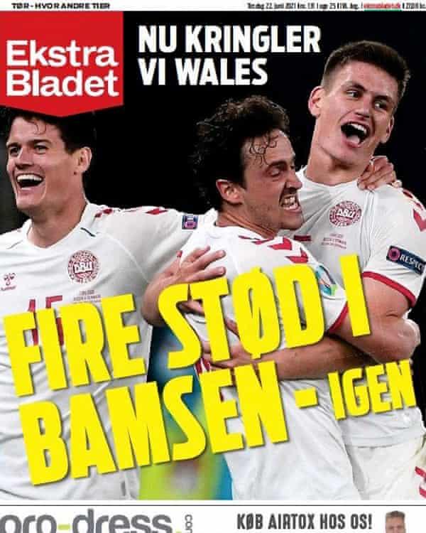 Титульная страница газеты Extra Platted во вторник в Дании.