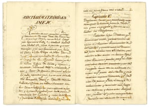 A page of text from The Foundation of the Capuchin Monastery of Jesus, Mary and Joseph in Lima, which tells the story of the journey that five nuns made to found a convent in Peru (1722).