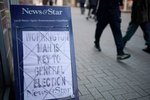 A newspaper billboard in Workington this week: 'Workington Man' is the invention of a right-leaning thinktank.