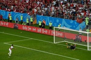 Christian Cueva blasts his penalty kick over the bar.