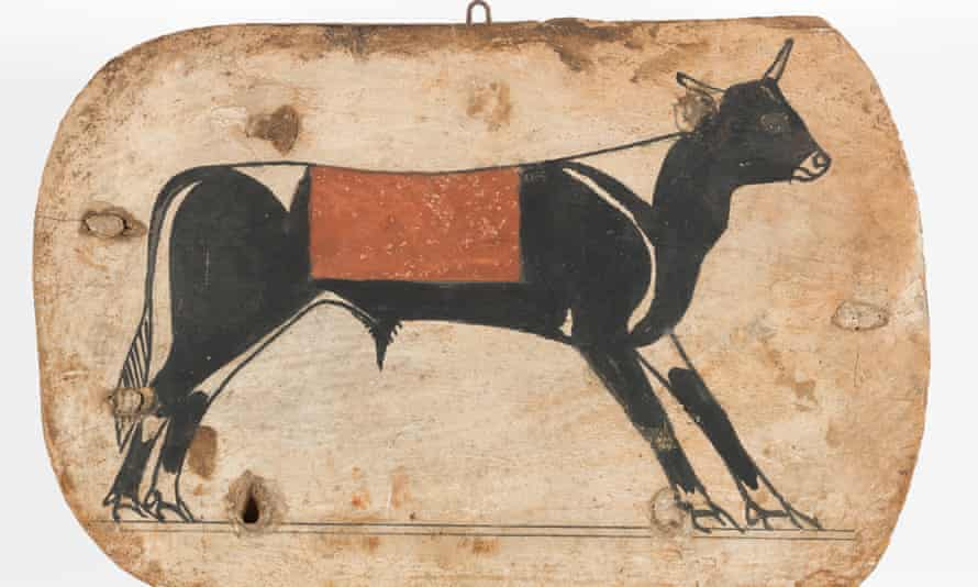 A foot board of an Apis bull from an Egyptian cartonnage coffin, from 745- 655 BC
