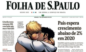 The front page of Folha De S.Paulo on Saturday.
