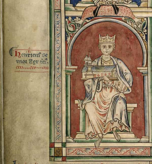 Henry I, as pictured in the Historia Anglorum Chronica Majora III, a manuscript written in Latin by Matthew Paris, a Benedictine monk.