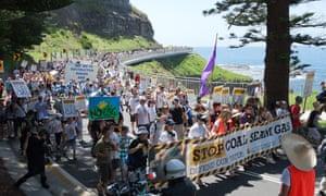 Anti-coal seam gas protesters walking along the Sea Cliff Bridge in October 2011.