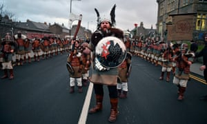 'Up Helly Aa' festival in the Shetland Islands, which benefit from a citizens' wealth fund based on annual payments by oil companies.
