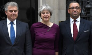 Theresa May poses outside No 10 Downing Street with Brandon Lewis (left), new Conservative party chairman and minister without portfolio, and James Cleverly, deputy chairman