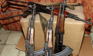 Kalashnikov assault rifles seized by Albanian police from local gangs in Tirana