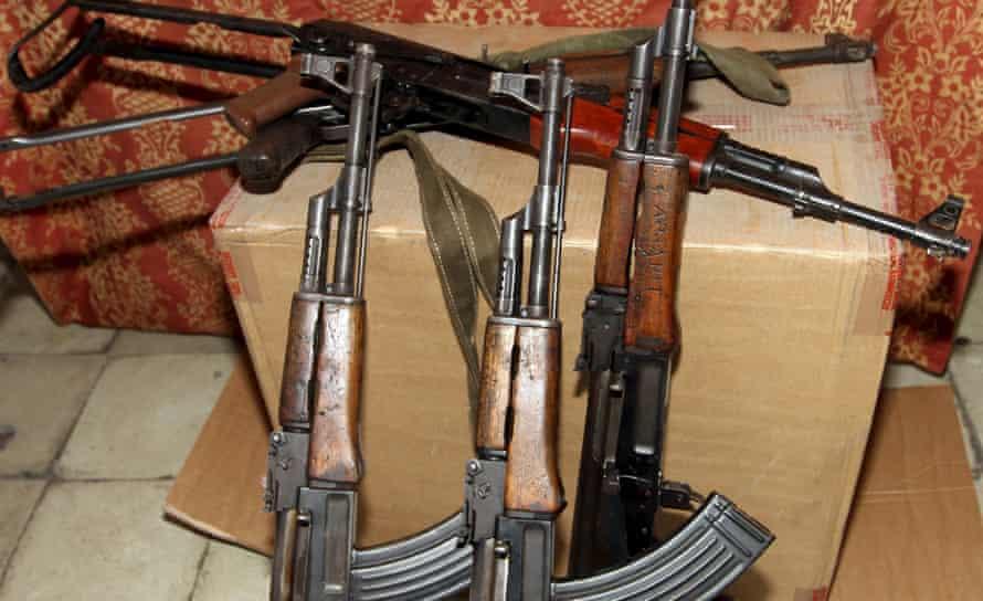 Kalashnikov assault rifles seized by Albanian police from local gangs in Tirana
