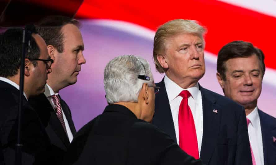 Donald Trump at the Republican convention in July 2016 with Rick Gates, left, and Manafort.