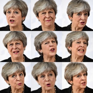 A combination of images of May giving a speech on Brexit in Florence, Italy, in September 2017