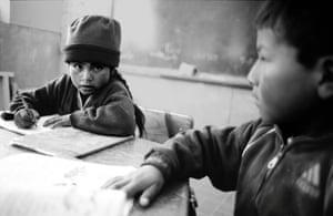 Children study at Estancia Arco's new one-room school