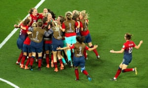 Norway players celebrate following their victory on penalties.