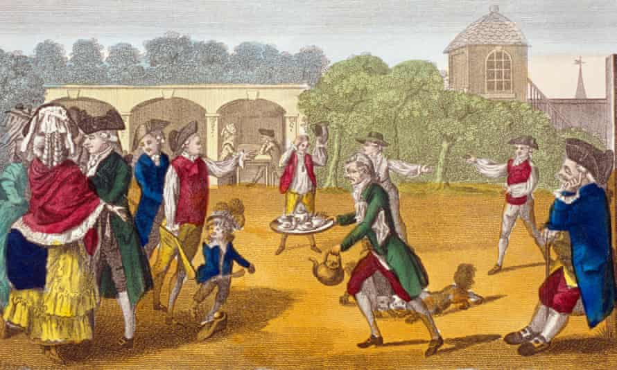 'Summer amusement' at White Conduit House, London, circa 1784. Tea became cheaper in the 19th century when the East India Company began to import in bulk tea grown on land it controlled in India, instead of entering into fractious negotiations with Chinese merchants.