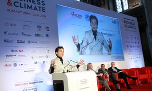 'Climate change action is by now unstoppable. It is global,' Christiana Figueres tells business leaders at a summit in London.