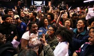 Protesters celebrate