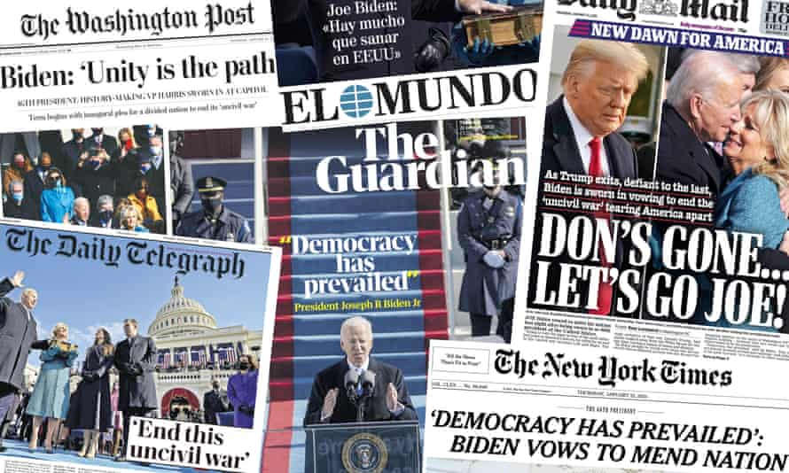 Front pages from papers around the world on Thursday morning marking Joe Biden's inauguration.