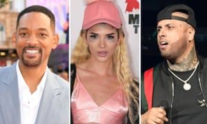 From left, Will Smith, Era Istrefi and Nicky Jam, who will record this year's official World Cup anthem.
