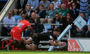 Alex Cuthbert scored his first Exeter try during their home win over Sale.