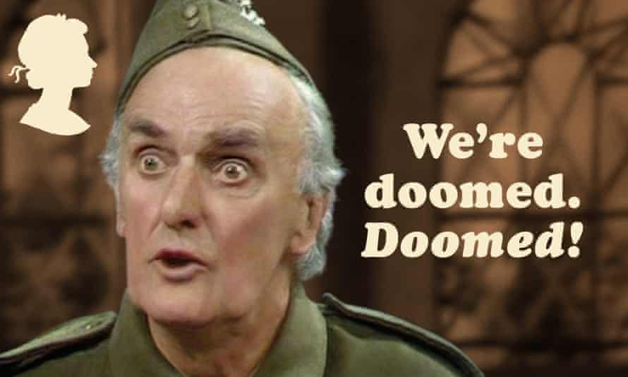 One of the Royal Mail's new Dad's Army stamps, featuring Pte Frazer and his catchphrase.