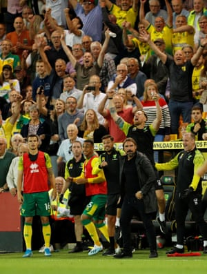 Norwich City manager Daniel Farke, staff and fans will the full-time whistle to go.