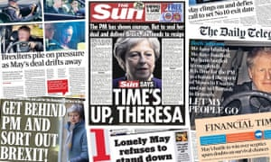 The UK front pages, March 25 2019, following emergency negotiations between Tory rebels and May breaking down.