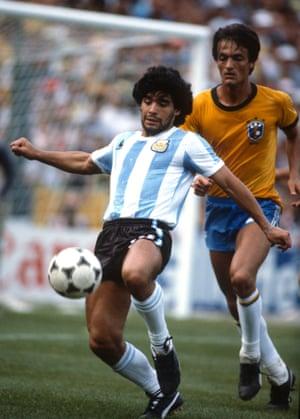 Diego Maradona in action in 1982