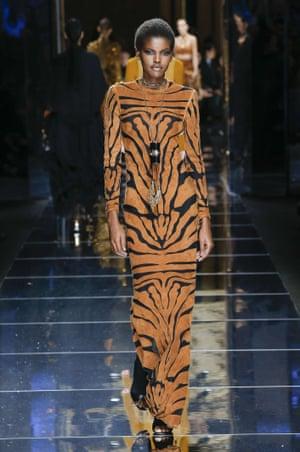 A model at the Balmain show during Paris fashion week.