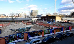 An HS2 building site at Euston station in London.