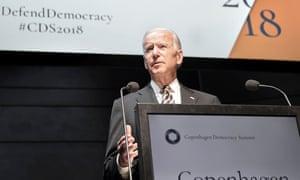 Joe Biden speaking a conference in Copenhagen