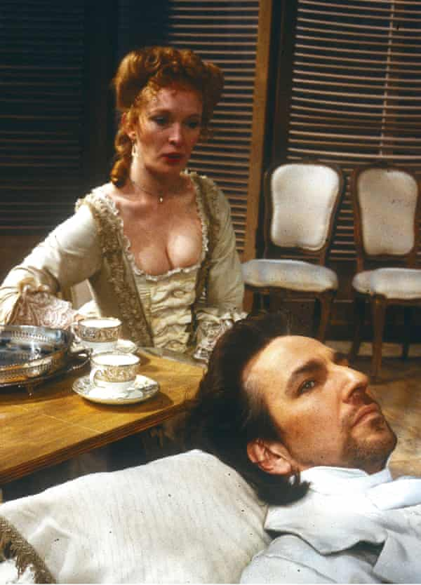 Lindsay Duncan and Alan Rickman in the RSC's Les Liaisons Dangereuses in 1985.